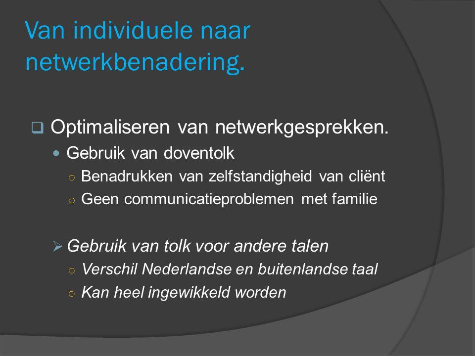 Van individuele naar netwerkbenadering. Optimaliseren van netwerkgesprekken.