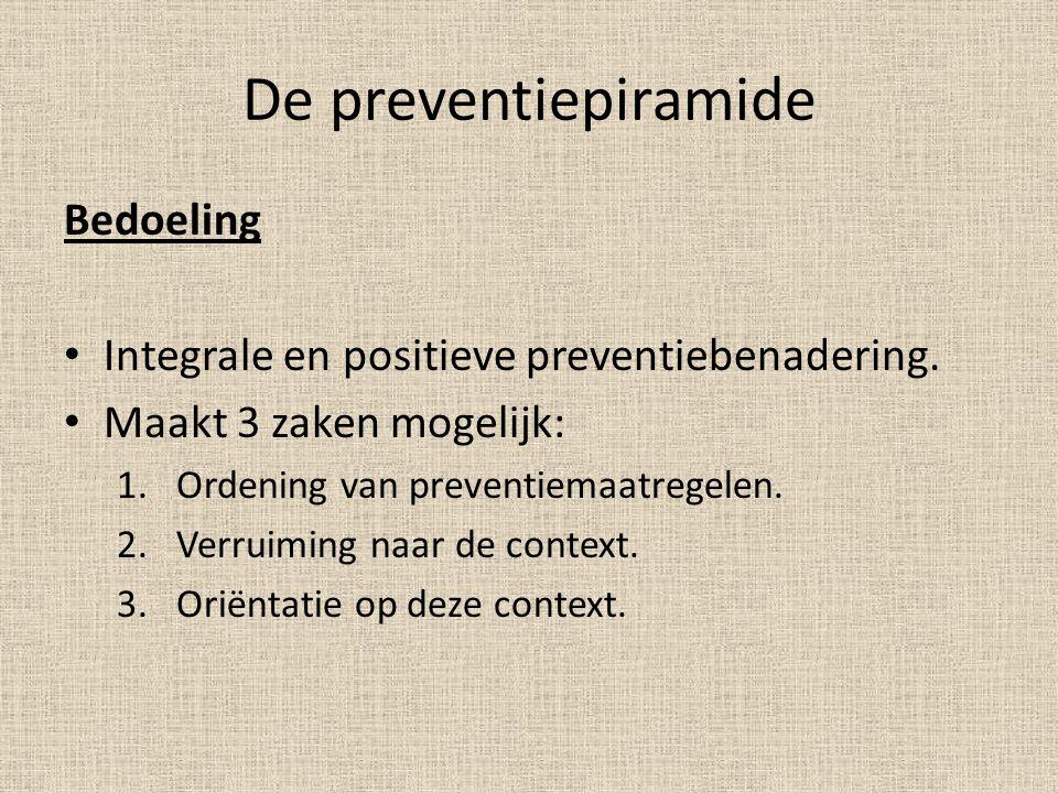 De preventiepiramide Bedoeling Integrale en positieve preventiebenadering. Maakt 3 zaken mogelijk: 1.Ordening van preventiemaatregelen. 2.Verruiming n