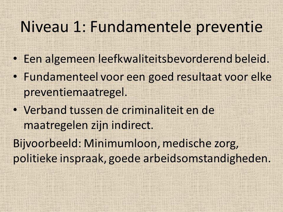 Niveau 1: Fundamentele preventie Een algemeen leefkwaliteitsbevorderend beleid. Fundamenteel voor een goed resultaat voor elke preventiemaatregel. Ver