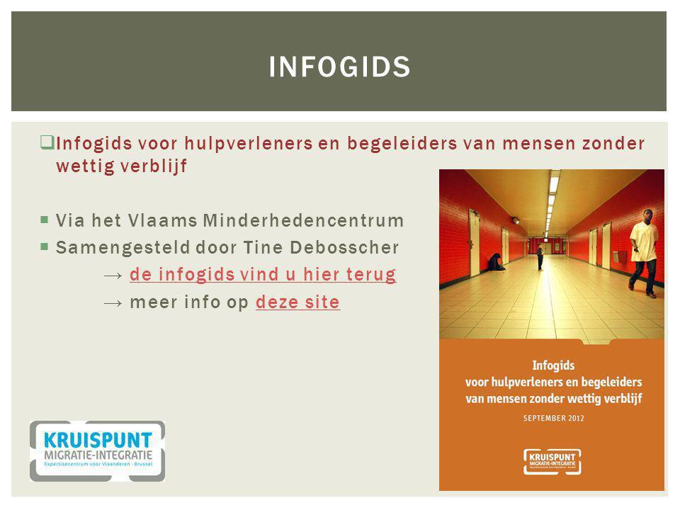  Infogids voor hulpverleners en begeleiders van mensen zonder wettig verblijf  Via het Vlaams Minderhedencentrum  Samengesteld door Tine Debosscher