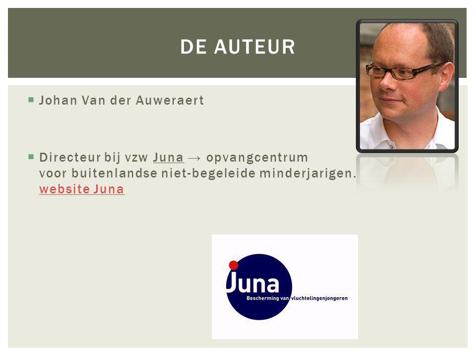  Johan Van der Auweraert  Directeur bij vzw Juna → opvangcentrum voor buitenlandse niet-begeleide minderjarigen.