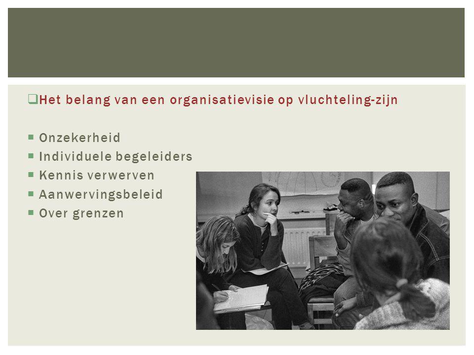  Het belang van een organisatievisie op vluchteling-zijn  Onzekerheid  Individuele begeleiders  Kennis verwerven  Aanwervingsbeleid  Over grenzen