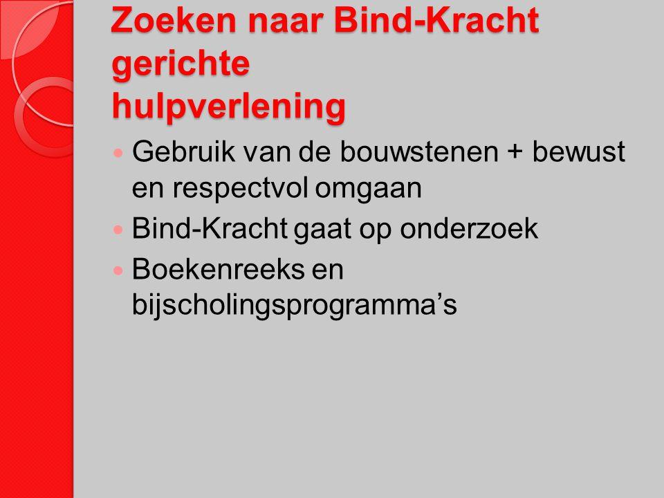 Zoeken naar Bind-Kracht gerichte hulpverlening Gebruik van de bouwstenen + bewust en respectvol omgaan Bind-Kracht gaat op onderzoek Boekenreeks en bi