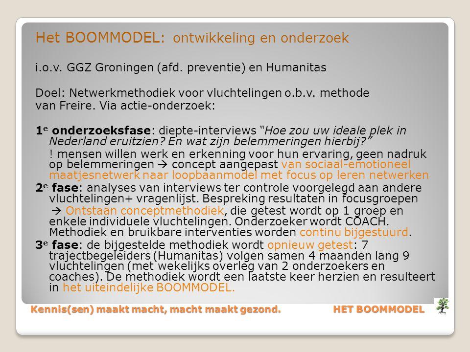 Kennis(sen) maakt macht, macht maakt gezond. HET BOOMMODEL Het BOOMMODEL: ontwikkeling en onderzoek i.o.v. GGZ Groningen (afd. preventie) en Humanitas