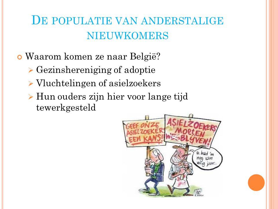D E POPULATIE VAN ANDERSTALIGE NIEUWKOMERS Waarom komen ze naar België.