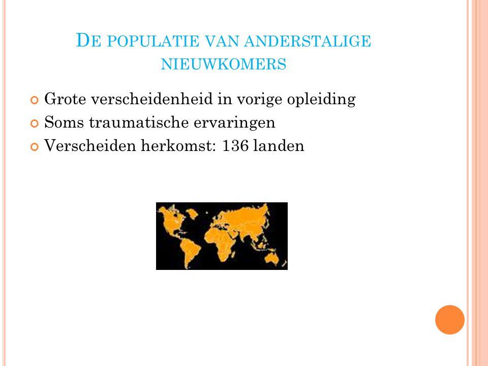 D E POPULATIE VAN ANDERSTALIGE NIEUWKOMERS Grote verscheidenheid in vorige opleiding Soms traumatische ervaringen Verscheiden herkomst: 136 landen