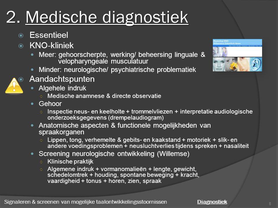 2. Medische diagnostiek  Essentieel  KNO-kliniek Meer: gehoorscherpte, werking/ beheersing linguale & velopharyngeale musculatuur Minder: neurologis