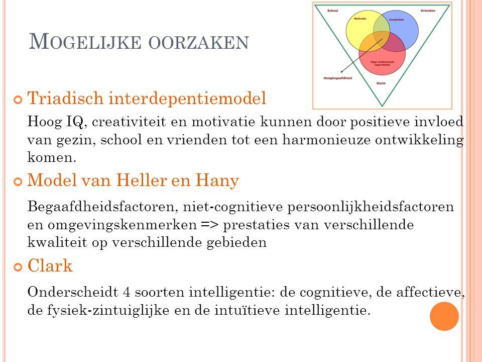 M OGELIJKE OORZAKEN Triadisch interdepentiemodel Hoog IQ, creativiteit en motivatie kunnen door positieve invloed van gezin, school en vrienden tot een harmonieuze ontwikkeling komen.