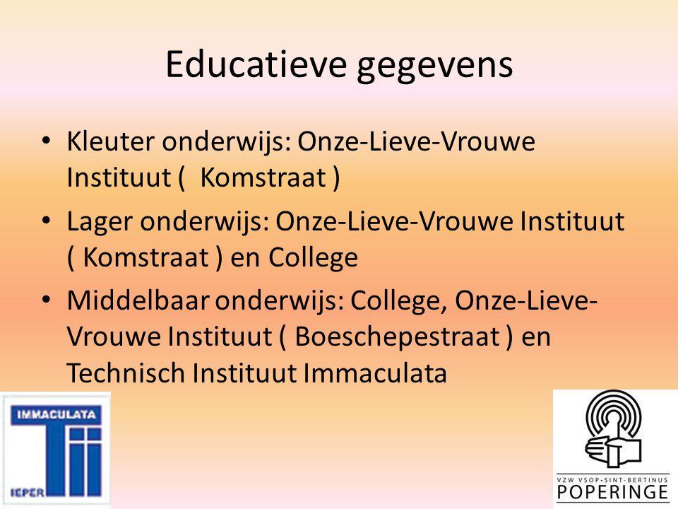 Educatieve gegevens Kleuter onderwijs: Onze-Lieve-Vrouwe Instituut ( Komstraat ) Lager onderwijs: Onze-Lieve-Vrouwe Instituut ( Komstraat ) en College