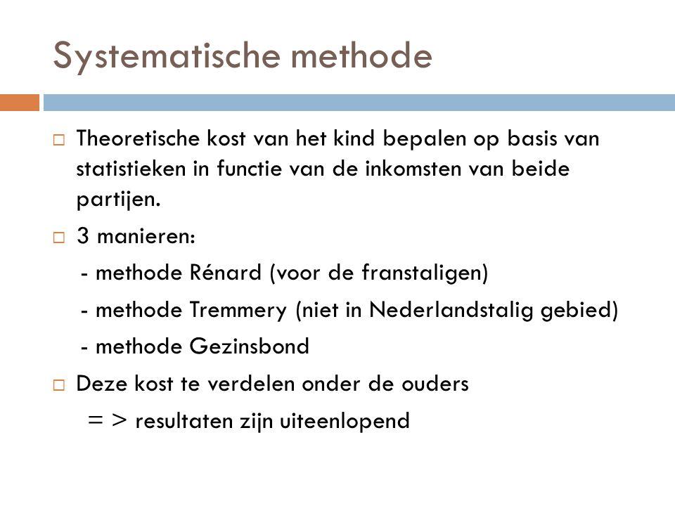Systematische methode  Theoretische kost van het kind bepalen op basis van statistieken in functie van de inkomsten van beide partijen.  3 manieren: