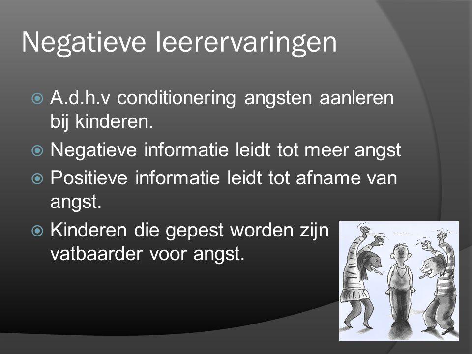 Negatieve leerervaringen  A.d.h.v conditionering angsten aanleren bij kinderen.  Negatieve informatie leidt tot meer angst  Positieve informatie le