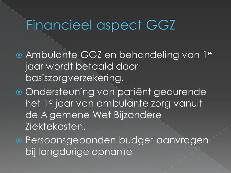  Ambulante GGZ en behandeling van 1 e jaar wordt betaald door basiszorgverzekering.  Ondersteuning van patiënt gedurende het 1 e jaar van ambulante