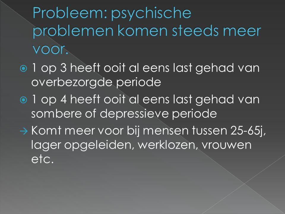  Psychosociale problemen  Psychiatrische stoornissen  Verslavingsproblemen  Dementie