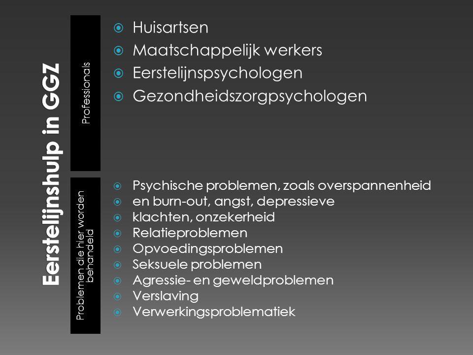 Professionals Problemen die hier worden behandeld  Huisartsen  Maatschappelijk werkers  Eerstelijnspsychologen  Gezondheidszorgpsychologen  Psych