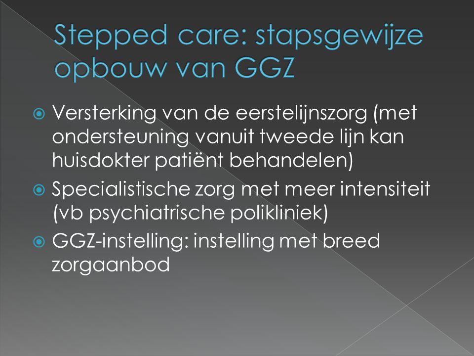  Versterking van de eerstelijnszorg (met ondersteuning vanuit tweede lijn kan huisdokter patiënt behandelen)  Specialistische zorg met meer intensiteit (vb psychiatrische polikliniek)  GGZ-instelling: instelling met breed zorgaanbod