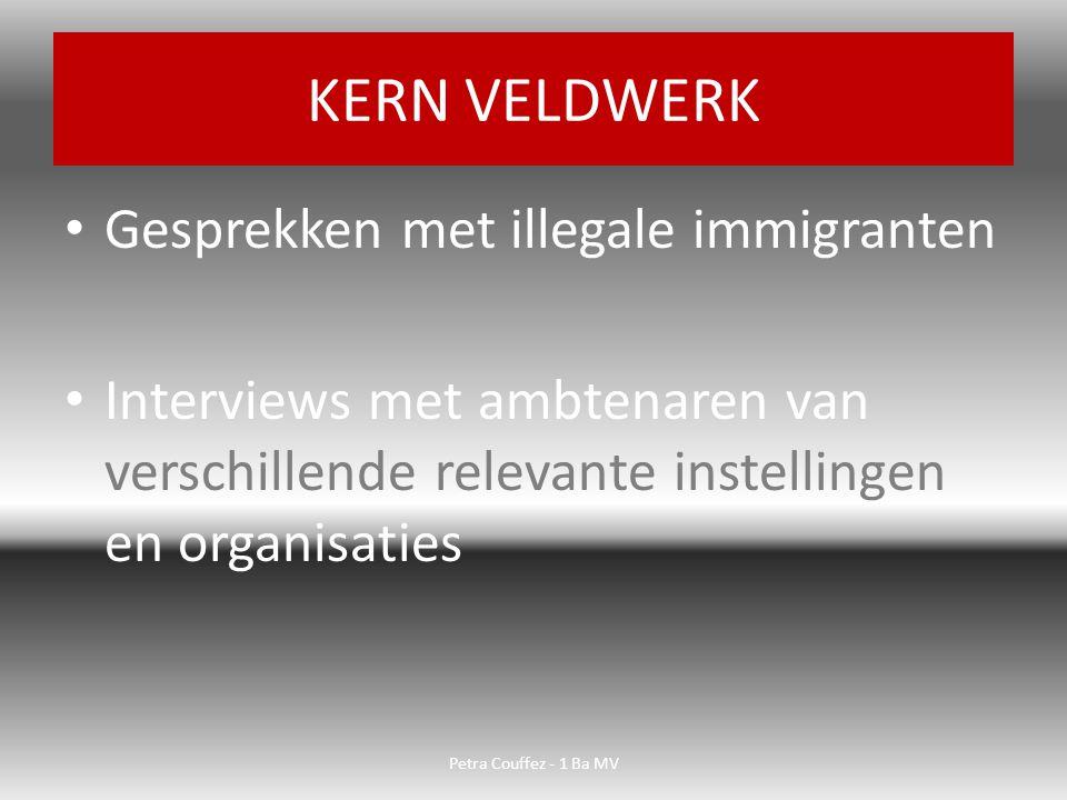 Gesprekken met illegale immigranten Interviews met ambtenaren van verschillende relevante instellingen en organisaties KERN VELDWERK Petra Couffez - 1 Ba MV