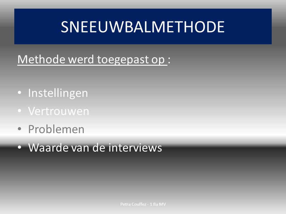 Methode werd toegepast op : Instellingen Vertrouwen Problemen Waarde van de interviews SNEEUWBALMETHODE Petra Couffez - 1 Ba MV