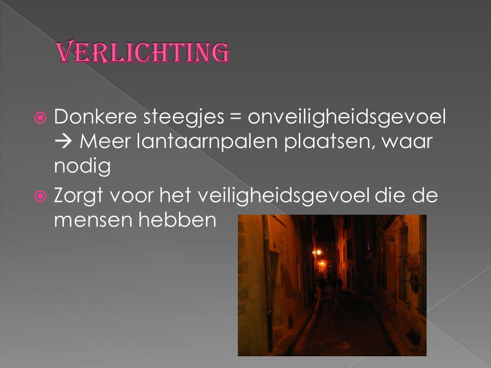  Donkere steegjes = onveiligheidsgevoel  Meer lantaarnpalen plaatsen, waar nodig  Zorgt voor het veiligheidsgevoel die de mensen hebben