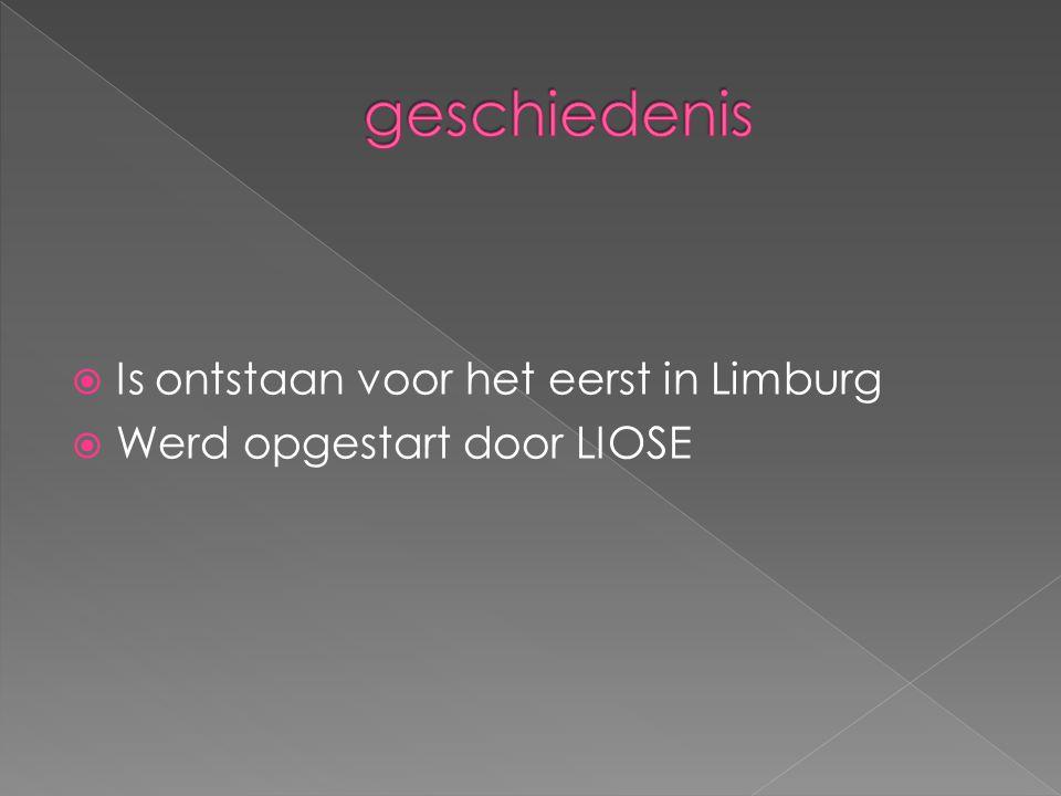  Is ontstaan voor het eerst in Limburg  Werd opgestart door LIOSE