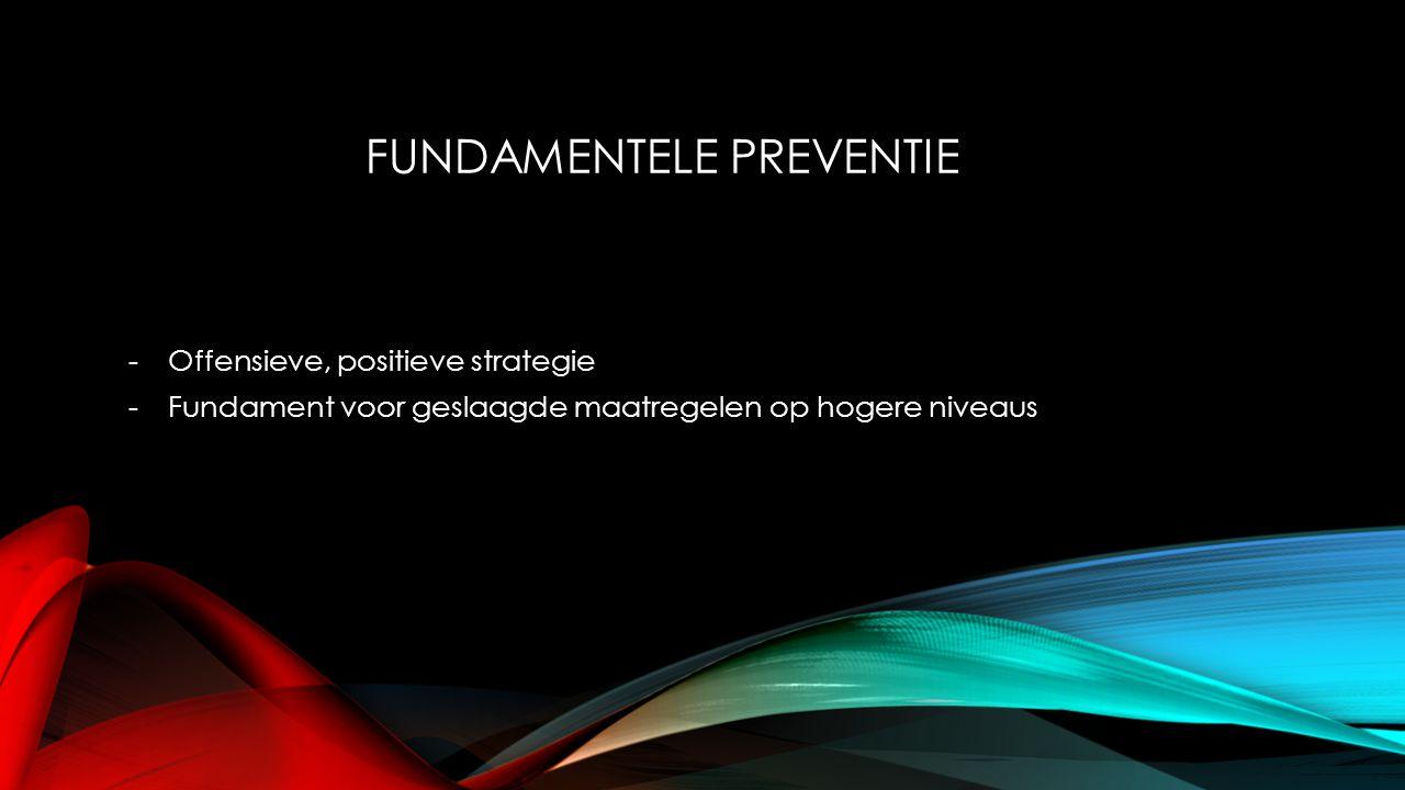 FUNDAMENTELE PREVENTIE -Offensieve, positieve strategie -Fundament voor geslaagde maatregelen op hogere niveaus