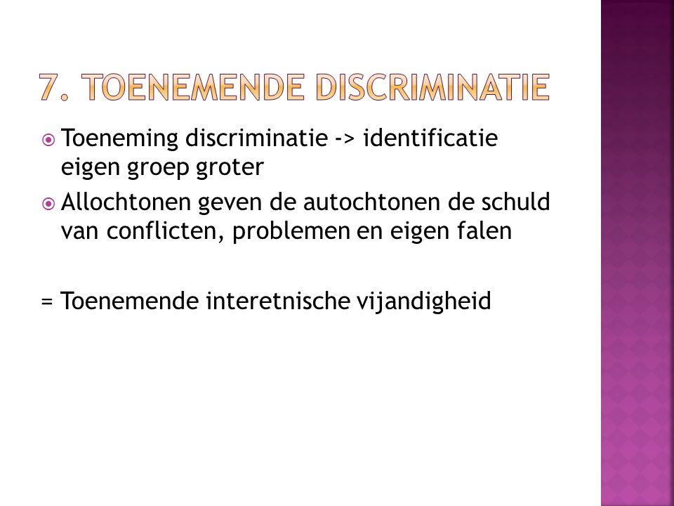  Toeneming discriminatie -> identificatie eigen groep groter  Allochtonen geven de autochtonen de schuld van conflicten, problemen en eigen falen =