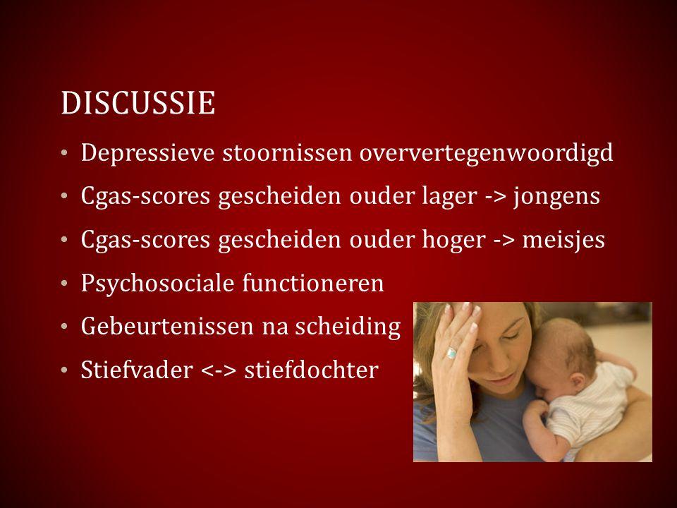 DISCUSSIE Depressieve stoornissen oververtegenwoordigd Cgas-scores gescheiden ouder lager -> jongens Cgas-scores gescheiden ouder hoger -> meisjes Psy