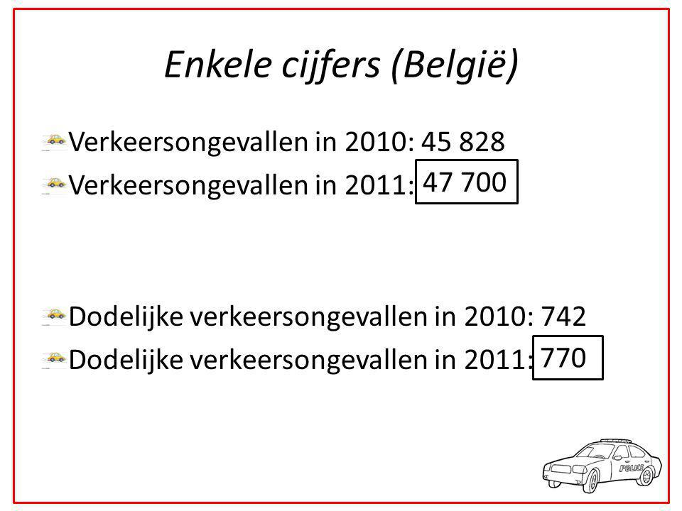 Enkele cijfers (België) Verkeersongevallen in 2010: 45 828 Verkeersongevallen in 2011: ______ Dodelijke verkeersongevallen in 2010: 742 Dodelijke verkeersongevallen in 2011: ____ 47 700 770