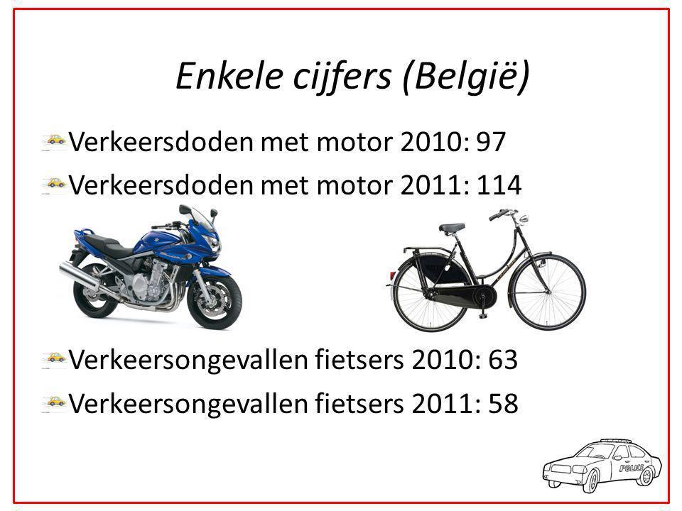 Verkeersdoden met motor 2010: 97 Verkeersdoden met motor 2011: 114 Verkeersongevallen fietsers 2010: 63 Verkeersongevallen fietsers 2011: 58 Enkele cijfers (België)