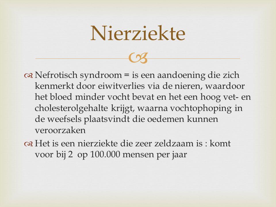  Er bestaan verschillende soorten van nefrotisch syndroom  - primair nefrotisch syndroom : aangeboren afwijking  - secundair nefrotisch syndroom : is gevolg van een andere (nier)ziekte Nefrotisch syndroom