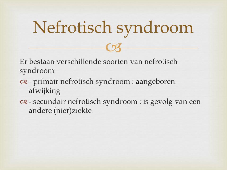   Nefrotisch syndroom is een combinatie van 4 symptomen - eiwitverlies in de urine - verminderd eiwitgehalte van het bloed - verstoorde verdeling van vocht in het lichaam dat leidt tot vochtophoping - een te hoog vetgehalte in het bloed symptomen