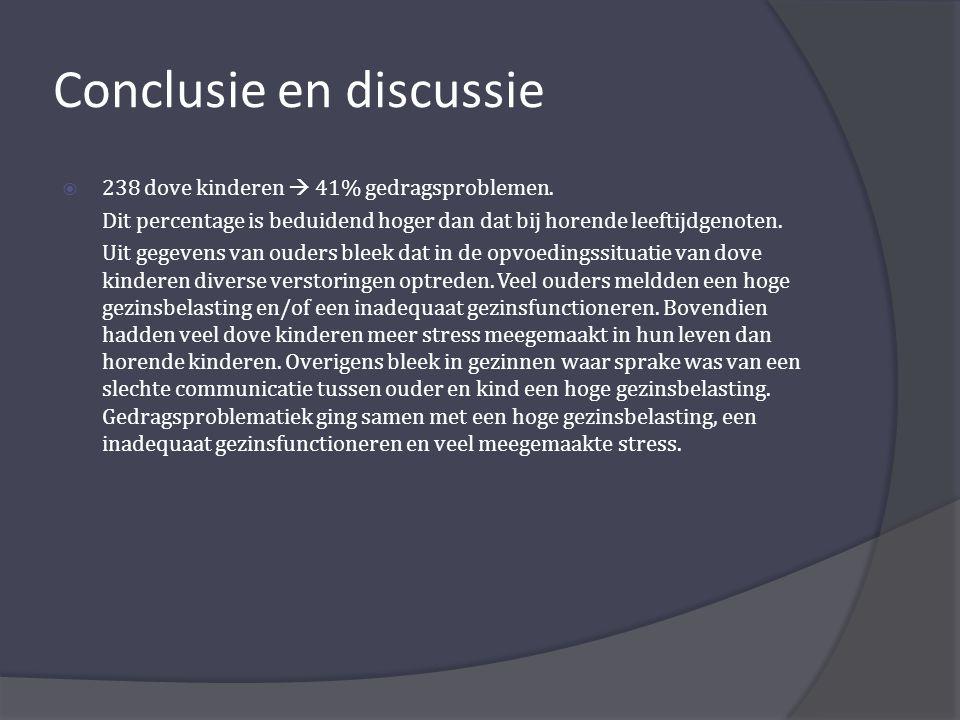 Conclusie en discussie  238 dove kinderen  41% gedragsproblemen.