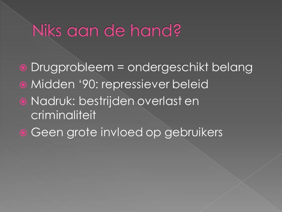  Drugprobleem = ondergeschikt belang  Midden '90: repressiever beleid  Nadruk: bestrijden overlast en criminaliteit  Geen grote invloed op gebruik