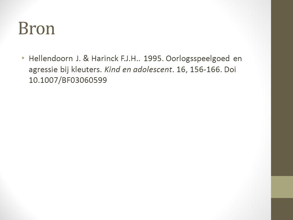 Bron Hellendoorn J. & Harinck F.J.H.. 1995. Oorlogsspeelgoed en agressie bij kleuters. Kind en adolescent. 16, 156-166. Doi 10.1007/BF03060599