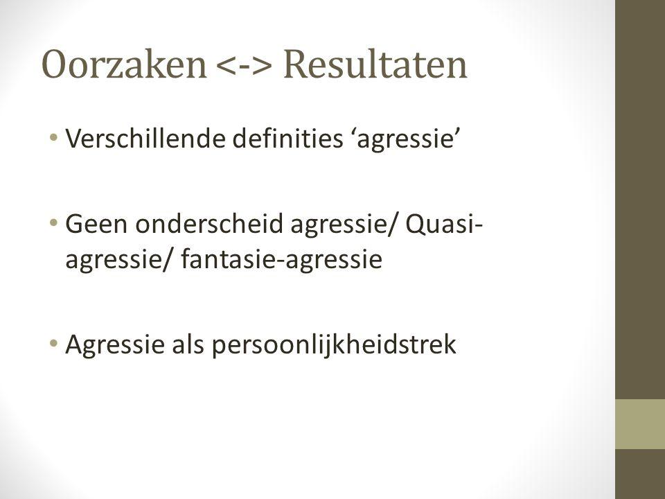 Oorzaken Resultaten Verschillende definities 'agressie' Geen onderscheid agressie/ Quasi- agressie/ fantasie-agressie Agressie als persoonlijkheidstre
