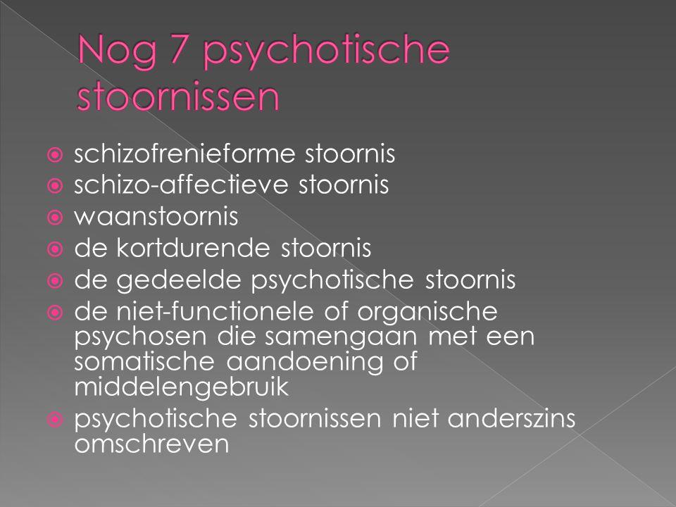  schizofrenieforme stoornis  schizo-affectieve stoornis  waanstoornis  de kortdurende stoornis  de gedeelde psychotische stoornis  de niet-functionele of organische psychosen die samengaan met een somatische aandoening of middelengebruik  psychotische stoornissen niet anderszins omschreven