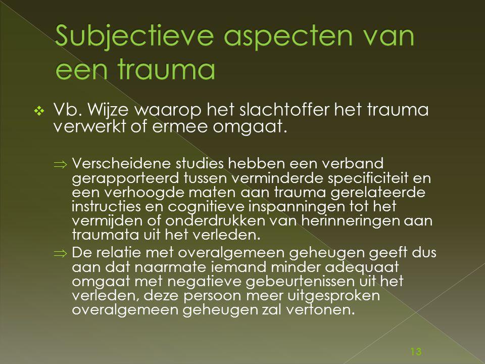  Vb. Wijze waarop het slachtoffer het trauma verwerkt of ermee omgaat.  Verscheidene studies hebben een verband gerapporteerd tussen verminderde spe