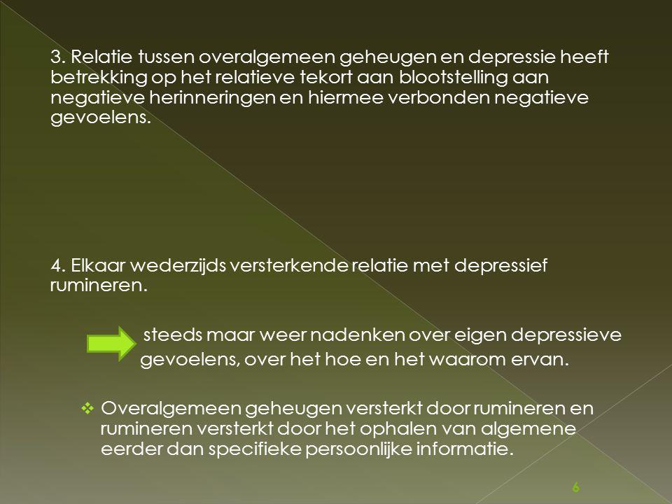 3. Relatie tussen overalgemeen geheugen en depressie heeft betrekking op het relatieve tekort aan blootstelling aan negatieve herinneringen en hiermee