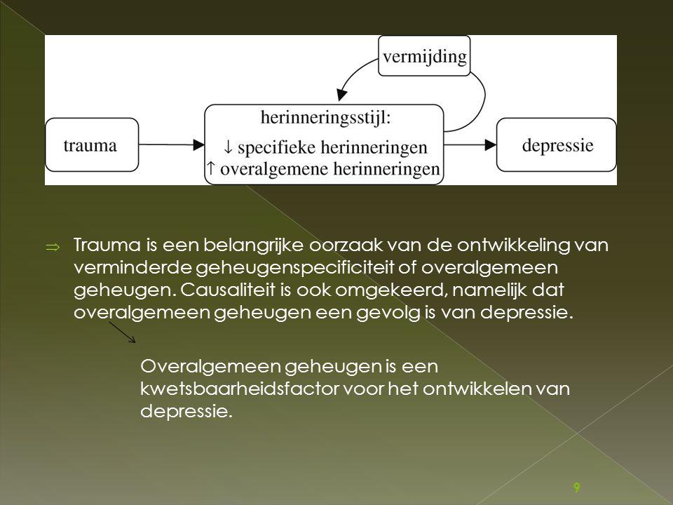  Trauma is een belangrijke oorzaak van de ontwikkeling van verminderde geheugenspecificiteit of overalgemeen geheugen. Causaliteit is ook omgekeerd,