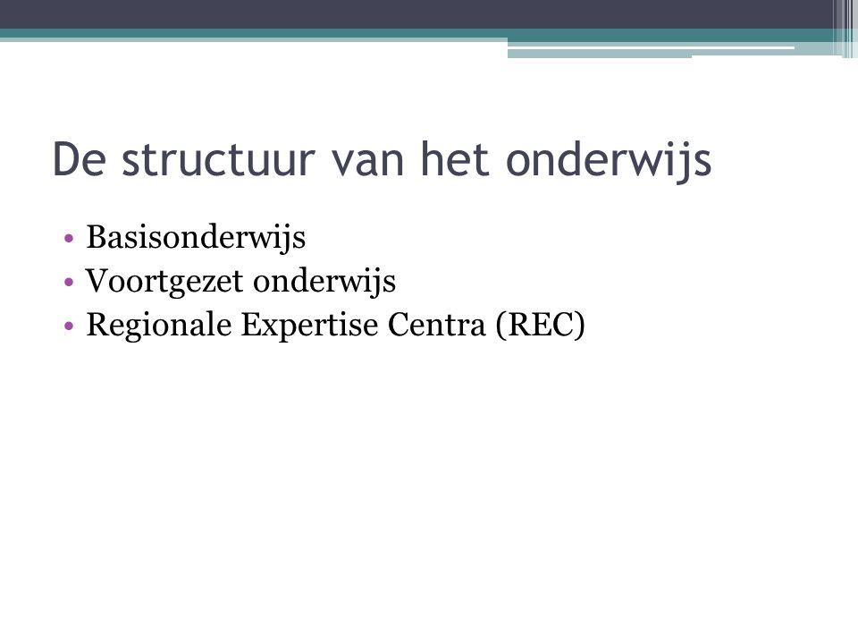 De structuur van het onderwijs Basisonderwijs Voortgezet onderwijs Regionale Expertise Centra (REC)