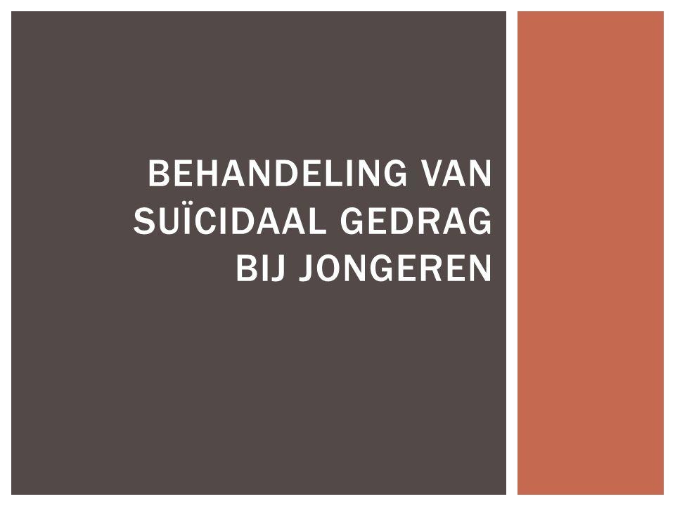Behandeling van suïcidaal gedrag bij jongeren 1.Inleiding 2.Bejegening van suïcidale jongeren 3.Aanpak van suïcidale crisis 1.Suïcidaliteit bespreekbaar maken 2.Interventies 4.Behandeling van suïcidaliteit bij jongeren 1.Buiten de GGZ 2.Binnen de GGZ 3.Prognose INHOUDSTABEL
