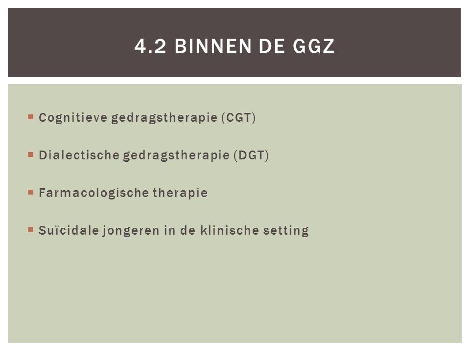  Cognitieve gedragstherapie (CGT)  Dialectische gedragstherapie (DGT)  Farmacologische therapie  Suïcidale jongeren in de klinische setting 4.2 BI