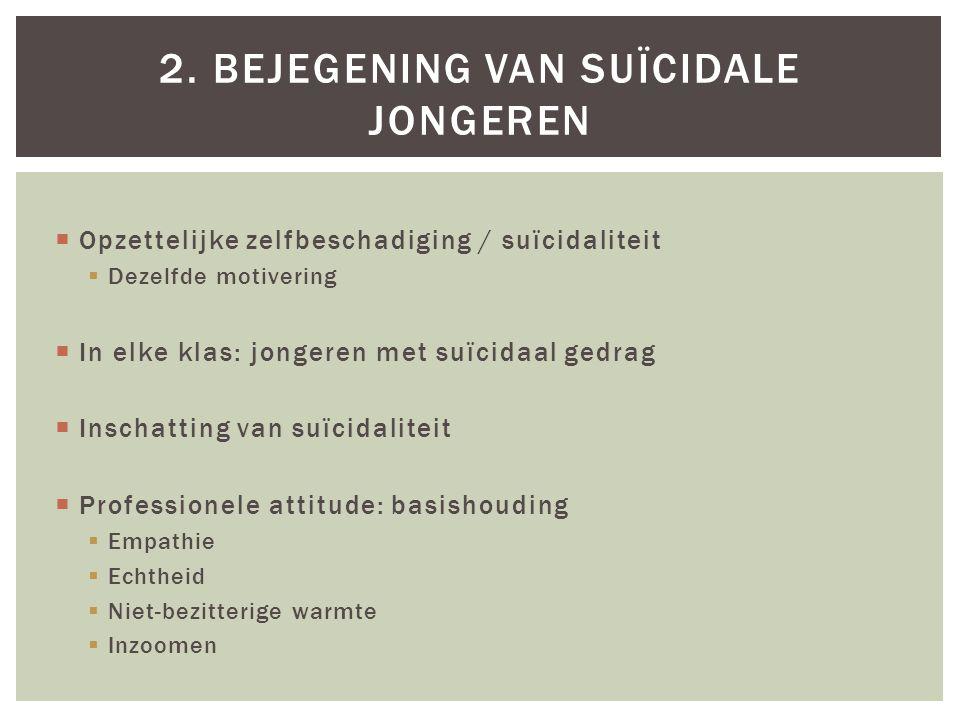 Opzettelijke zelfbeschadiging / suïcidaliteit  Dezelfde motivering  In elke klas: jongeren met suïcidaal gedrag  Inschatting van suïcidaliteit 