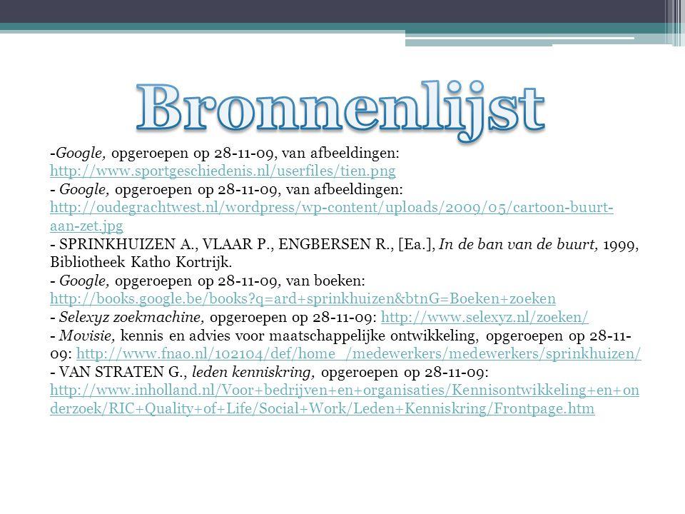 -Google, opgeroepen op 28-11-09, van afbeeldingen: http://www.sportgeschiedenis.nl/userfiles/tien.png http://www.sportgeschiedenis.nl/userfiles/tien.png - Google, opgeroepen op 28-11-09, van afbeeldingen: http://oudegrachtwest.nl/wordpress/wp-content/uploads/2009/05/cartoon-buurt- aan-zet.jpg http://oudegrachtwest.nl/wordpress/wp-content/uploads/2009/05/cartoon-buurt- aan-zet.jpg - SPRINKHUIZEN A., VLAAR P., ENGBERSEN R., [Ea.], In de ban van de buurt, 1999, Bibliotheek Katho Kortrijk.