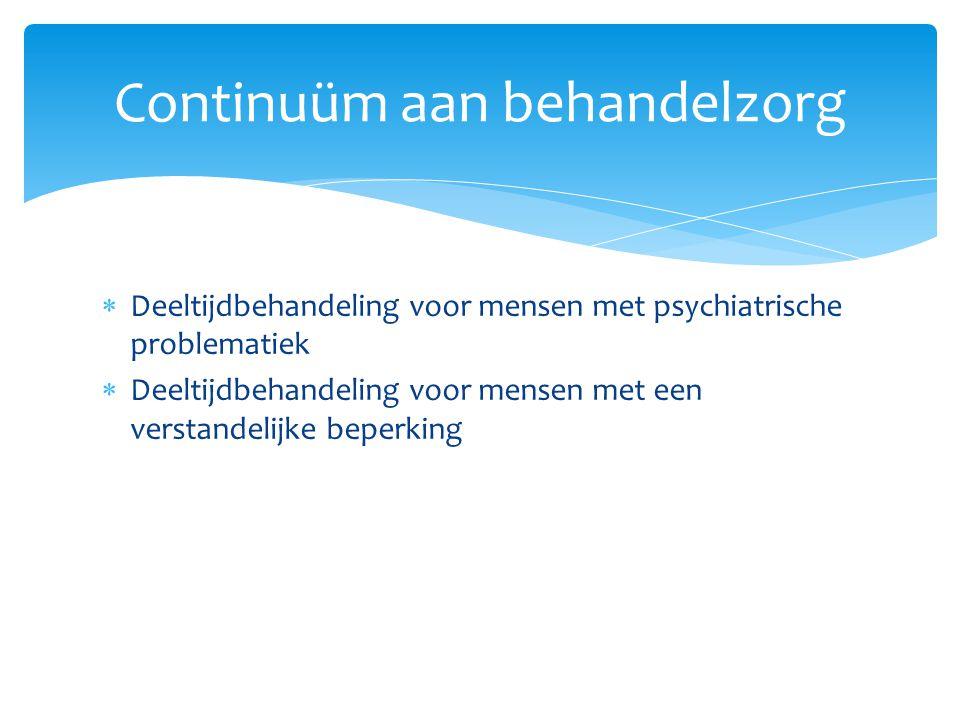  Deeltijdbehandeling voor mensen met psychiatrische problematiek  Deeltijdbehandeling voor mensen met een verstandelijke beperking Continuüm aan beh