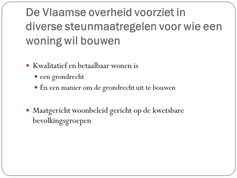 De Vlaamse overheid voorziet in diverse steunmaatregelen voor wie een woning wil bouwen Kwalitatief en betaalbaar wonen is een grondrecht Én een manier om de grondrecht uit te bouwen Maatgericht woonbeleid gericht op de kwetsbare bevolkingsgroepen