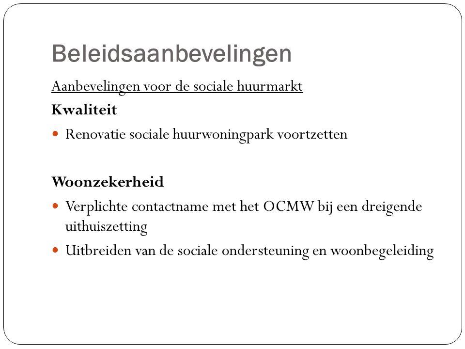 Beleidsaanbevelingen Aanbevelingen voor de sociale huurmarkt Kwaliteit Renovatie sociale huurwoningpark voortzetten Woonzekerheid Verplichte contactname met het OCMW bij een dreigende uithuiszetting Uitbreiden van de sociale ondersteuning en woonbegeleiding