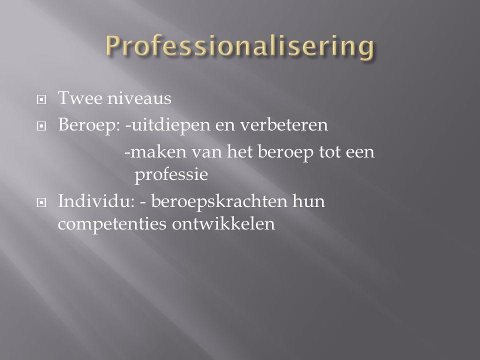  Twee niveaus  Beroep: -uitdiepen en verbeteren -maken van het beroep tot een professie  Individu: - beroepskrachten hun competenties ontwikkelen