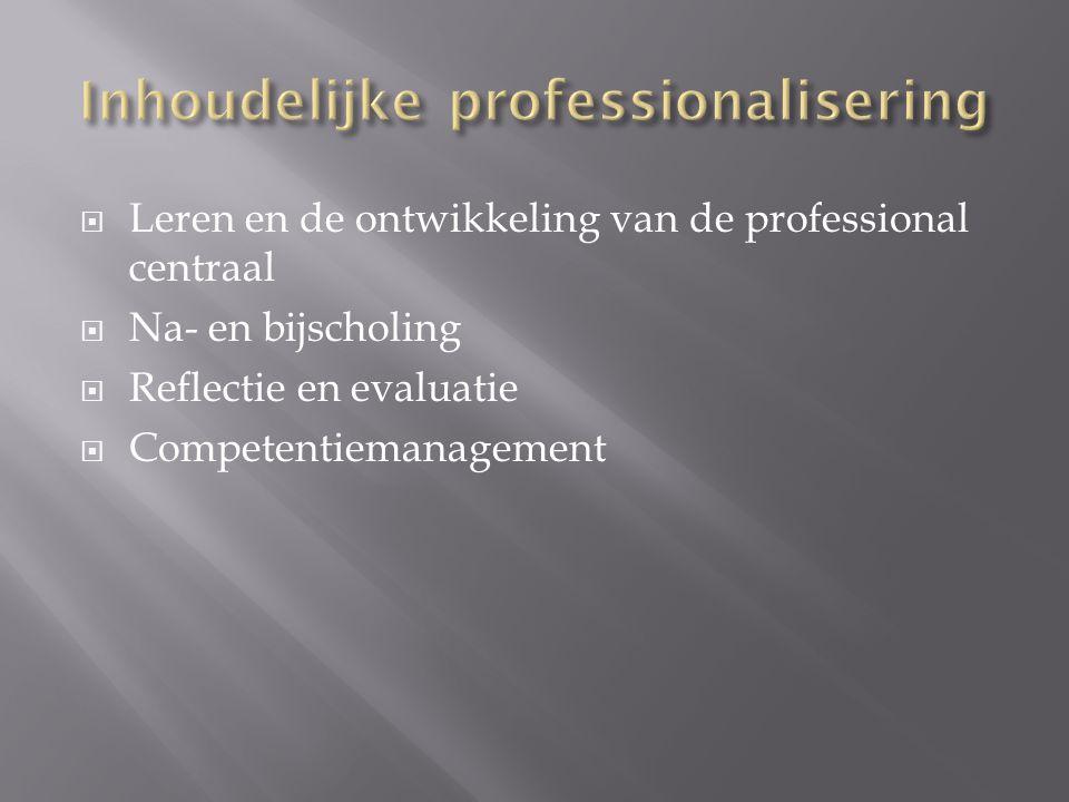  Leren en de ontwikkeling van de professional centraal  Na- en bijscholing  Reflectie en evaluatie  Competentiemanagement