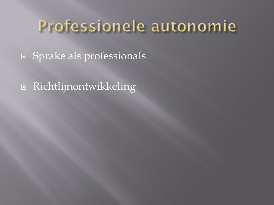  Professionalisering is een continu proces  Landelijk erkende competentieprofielen  Ontwikkeling van beroepscodes  Volgende stap