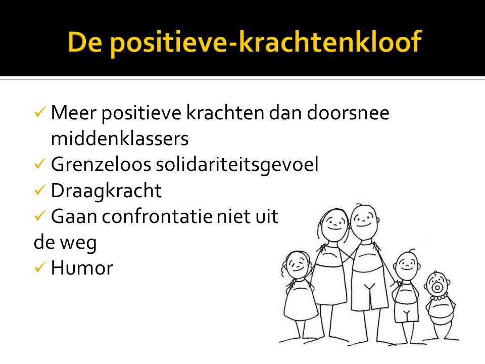 Meer positieve krachten dan doorsnee middenklassers Grenzeloos solidariteitsgevoel Draagkracht Gaan confrontatie niet uit de weg Humor